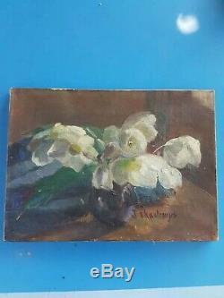 Ancienne Huile sur toile, Nature morte, bouquet de fleurs signature d'artiste