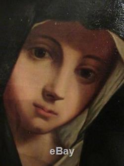 Ancienne Peinture Huile Sur Toile Vierge Marie
