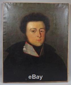 Ancienne huile sur toile portrait homme empire 19ème / antique painting 19th