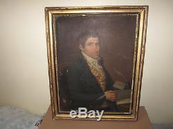Ancienne huile sur toile portrait homme fin XVIII eme debut XIX eme