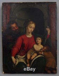 Ancienne huile sur toile vierge à l'enfant 16ème 17ème oil painting 16th 17th