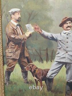 Ancienne peinture huile sur toile, garde champêtre, chasse