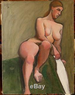 André Duffour (1926-2016), nu assis, huile sur toile, post cubiste, 1950