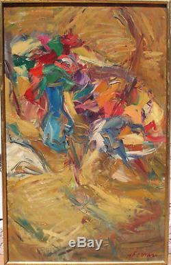 Antoine FERRARI Huile sur toile Bouquet Marseille Ambrogiani