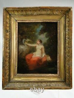 Attribué à Narcisse DIAZ DE LA PEÑA (1807-1876) H/T Leda & le cygne cadre doré