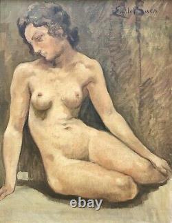 BAES Émile Huile s/ Toile Portrait de Femme Nue Seins Tableau Peinture Belge XXè