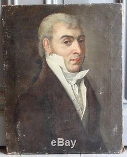 Beau Portrait D'homme Vers 1800 Empire Napoleon Huile Sur Toile
