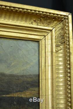 BEAU TABLEAU Huile S. Toile BEAUX PAYSAGE JEAN LOUIS GINTRAC VENDANGEUR VIN 1835