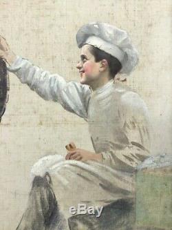 Basile LEMEUNIER huile toile enfant marmiton pâtissier ramoneur Belle Époque