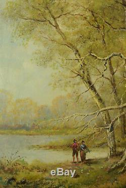 BeauTableau Ancien Couple au bord d'un lac Barbizon Forêt Jules Pascal 19e