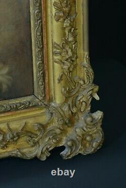 Beau Tableau Ancien Portrait de Saint Jean Baptiste Adolescent Agneau Dieu Cadre
