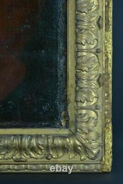 Beau Tableau Ancien portrait Homme perruque costume Rouge époque Louis XV cadre