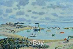 Beau Tableau ancien Impressionniste Marine Vue de Port Breton Paimpol Kaprielian