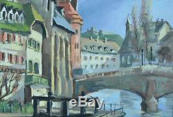 Beau Tableau ancien l'écluse de la petite France Strasbourg Alsace Willy Kuhn