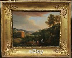 Beau paysage classique avec scène antique début XIXè suiveur de Bertin