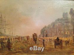 Beau paysage nuit impressionniste port ville XIX huile sur toile proche jongkind