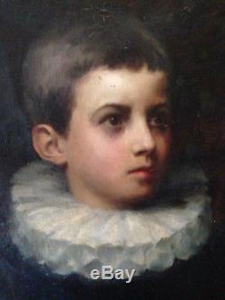 Beau portrait garçon à la collerette enfant noble huile sur toile ancien XIX