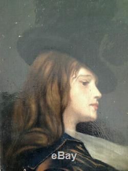Beau portrait jeune fille chapeau femme XIX huile sur toile impressionniste