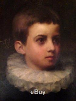 Beau portrait jeune garçon à la collerette enfant noble huile sur toile ancien