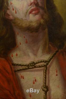 Beau tableau Religieux Portrait du christ aux liens couronne d épines 18 ème hst