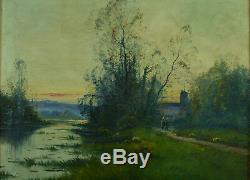 Beau tableau ancien 19 ème Galien Laloue paysage animé Coucher de soleil Breton