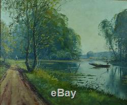 Beau tableau ancien 19 ème Galien Laloue signé paysage animé Marais Breton N°1