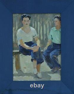 Beau tableau ancien portrait deux hommes assis sur un banc école Russe signé