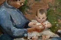 Bébé et sa nourrice. Huile /toile/carton fin 19 ème. Non signé. Cadre 45 x 37
