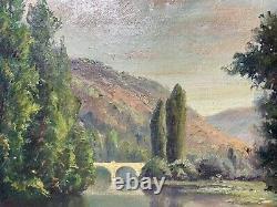 Belle Huile Sur Toile Ancienne, Ecole Barbizon, Xixeme, Paysage Au Pecheur