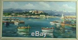 Belle Peinture Ancienne Huile Sur Toile Le Port D'antibes Signee A. Riguetti