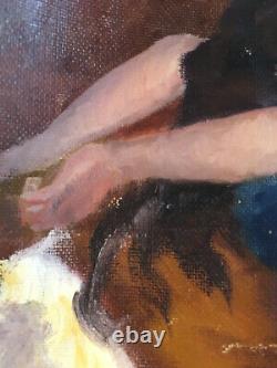 Belle Peinture Hst Huile Sur Toile Femme Nue A Identifier 1950