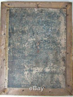 Belle huile sur toile XIX tête de saint jean baptiste caravagesque religion