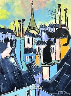 Black Chats Noirs Toits Paris Tour Eiffel Tableau Peinture Huile Original Jiel