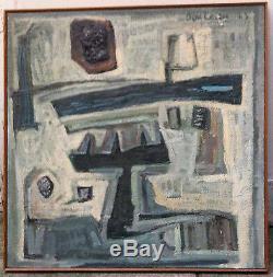 Boureau André huile toile signée art abstrait Dolëan, Bretagne, Ceret, Pouldu