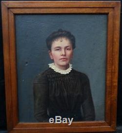 Bralebois Portrait de femme Epoque fin XIXème siècle huile sur toile