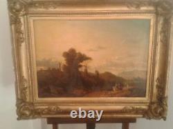 CONVOI MEDIEVAL DANS UN PAYSAGE Huile sur toile, Ecole Française vers 1830