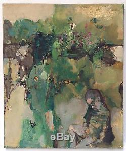 Cara Costea philippe huile sur toile signée 1967 L'enfant dans le jardin art