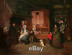 Charles CORBINEAU tableau Salon scène intérieur Bretagne Vendée famille paysans
