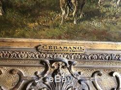 Charles Ferdinand CERAMANO HST TROUPEAU DANS LA FORÊT DE BARBIZON XIXEME