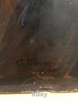 Charles Mezzara Chevalier en armure, Huile sur toile tableau ancien medieval