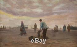 Charles Roussel Tableau Marine Pecheurs Berck Paysage Art Francais Nord France