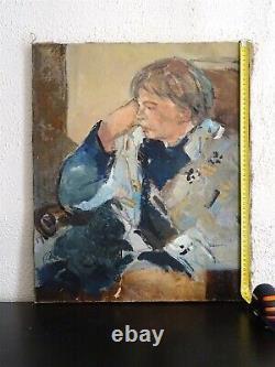 Charmante Peinture-fauvisme-1950/60-portrait De Femme Endormie-l'esprit Matisse