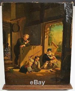 Chasse Souris. Huile / Toile. École De Rome. Italie. XIX Siècle