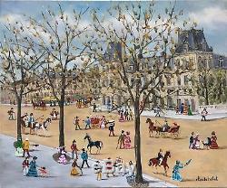 Claude Tabet huile sur toile signée art naïf
