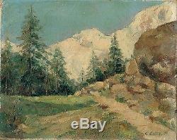 Clément Castelli Sur La Route De Saas Fée (alpes Suisses) Huile Sur Toile 1940