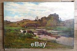 Clovis Terraire fin XIXeme, Les Vaches, huile sur toile signée