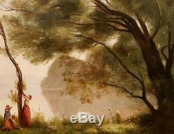 D'après Camille COROT tableau huile toile paysage Souvenir de Mortefontaine