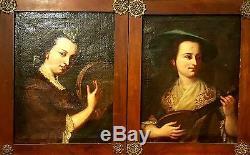 Dames Avec Des Instruments. Huile Toile. École Italienne. Baroque. Xviie Siècle