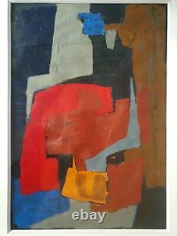 Dans le goût de Serge Poliakoff Huile sur papier Abstraction Ecole Paris vers 60