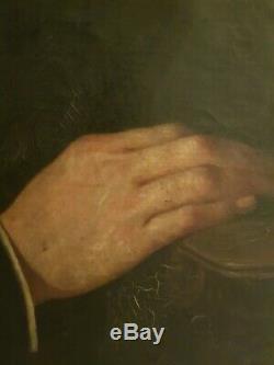 Début XIX, sublime grande huile sur toile, portrait noble, cadre monté à clé
